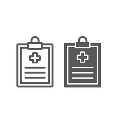 Medical record line and glyph icon hospital vector
