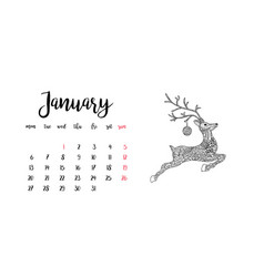 monthly desk calendar template for month january vector image