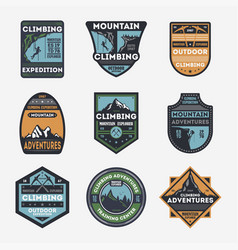 Mountain climbing vintage isolated label set vector