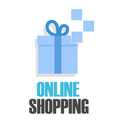 online shopping blue gift box background im vector image
