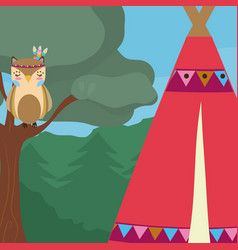 Owl cute hippie cartoon vector