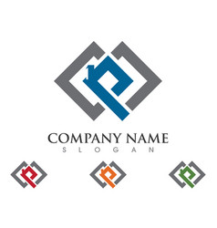p letter property logo template vector image