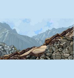 Painted rocky slope at top among foggy vector