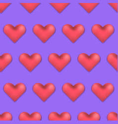 pink and violet valentines day 3d hearts pattern vector image