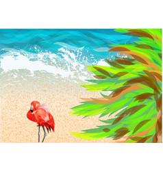 Pink flamingo on beach vector