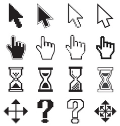 Pixel cursors icons arrow hourglass hand mouse vector image