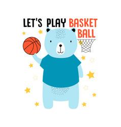 player bear t-shirt design with slogan vector image