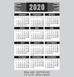 Pocket calendar 2020 start on sunday black vector