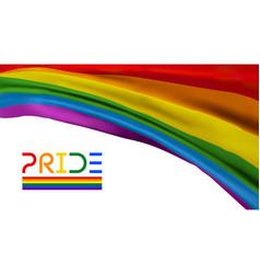 Pride flag waving color background lgbtq vector