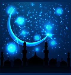 Ramadan kareem greeting with mosque on night vector