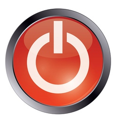 Red glossy power button vector