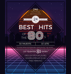 Retro 80s hits party poster vector