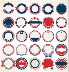 Retro vintage blue and red badges and labels 01623 vector