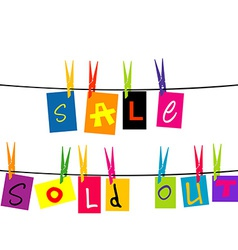 Sale and sold out hanging on a rope vector