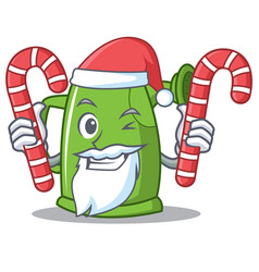 Santa with candy watering can character cartoon vector