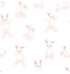 Seamless pattern with cute easter bunnies vector