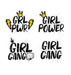 Set girl femenist slogans with lettering vector