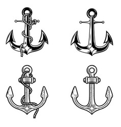 set of anchors on white background design vector image