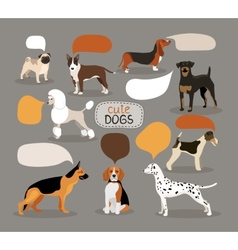 Set of dog breeds with speech bubbles vector