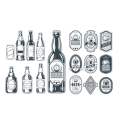 Set of icons beer bottles and label them vector