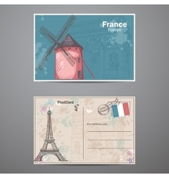 set two sides postcard on theme paris in vector image
