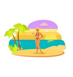 sexy woman in swimsuit bikini and bra having fun vector image