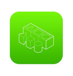 shape sorter toy icon green vector image