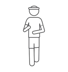 Silhouette front view pictogram man jogging icon vector