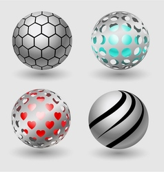 Silver ball business icon collection vector