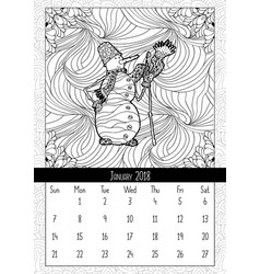 snowman in doodle style calendar january 2018 vector image