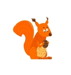 Squirrel Holding The Cone Flat Cartoon vector