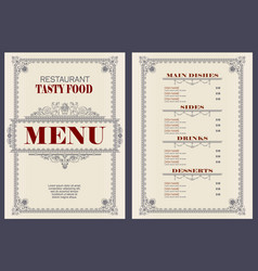Template cafe or restaurant menu vector