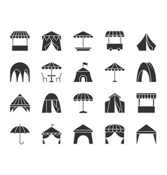 Tent black silhouette icons set vector