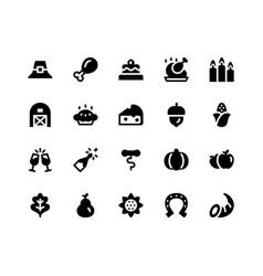 Thanksgiving glyph icons vector