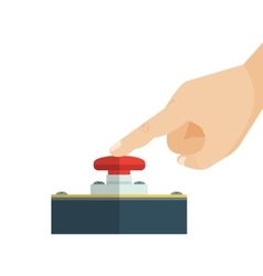 The finger is touching red alert button vector image
