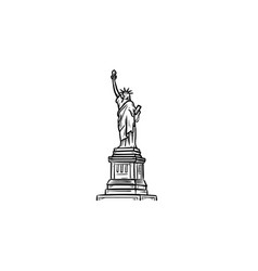 The statue of liberty hand drawn outline doodle vector
