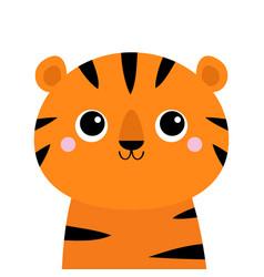 tiger cute cartoon kawaii funny character big vector image