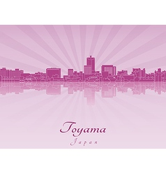 Toyama skyline in purple radiant orchid vector