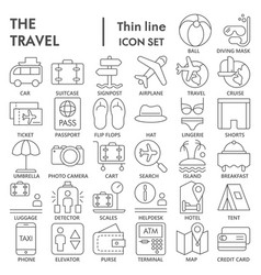 travel thin line signed icon set vacation symbols vector image