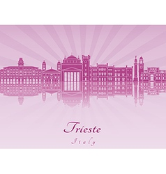 Trieste skyline in purple radiant orchid vector image