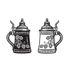 Two german stein beer mugs black and white hand vector