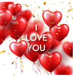 valentines day background with red heart balloons vector image