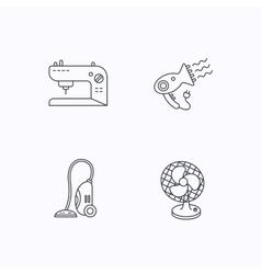 Ventilator sewing machine and hairdryer icons vector image
