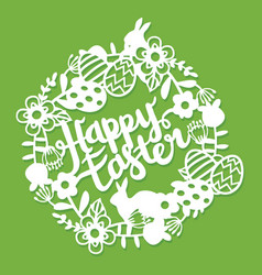 vintage paper cut floral wreath easter bunnies vector image