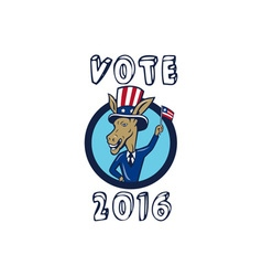 Vote 2016 Democrat Donkey Mascot Flag Circle vector image