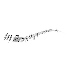 Wavy line of musical notes - melody conept vector