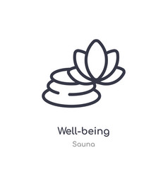 Well-being outline icon isolated line from sauna vector