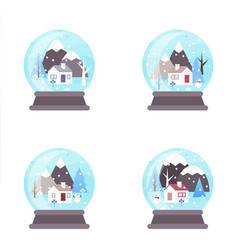 winter landscape snowglobe with cottage vector image