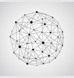 wireframe connecting earth sphere globe vector image