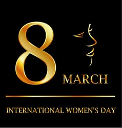 Womens day graphic in gold vector